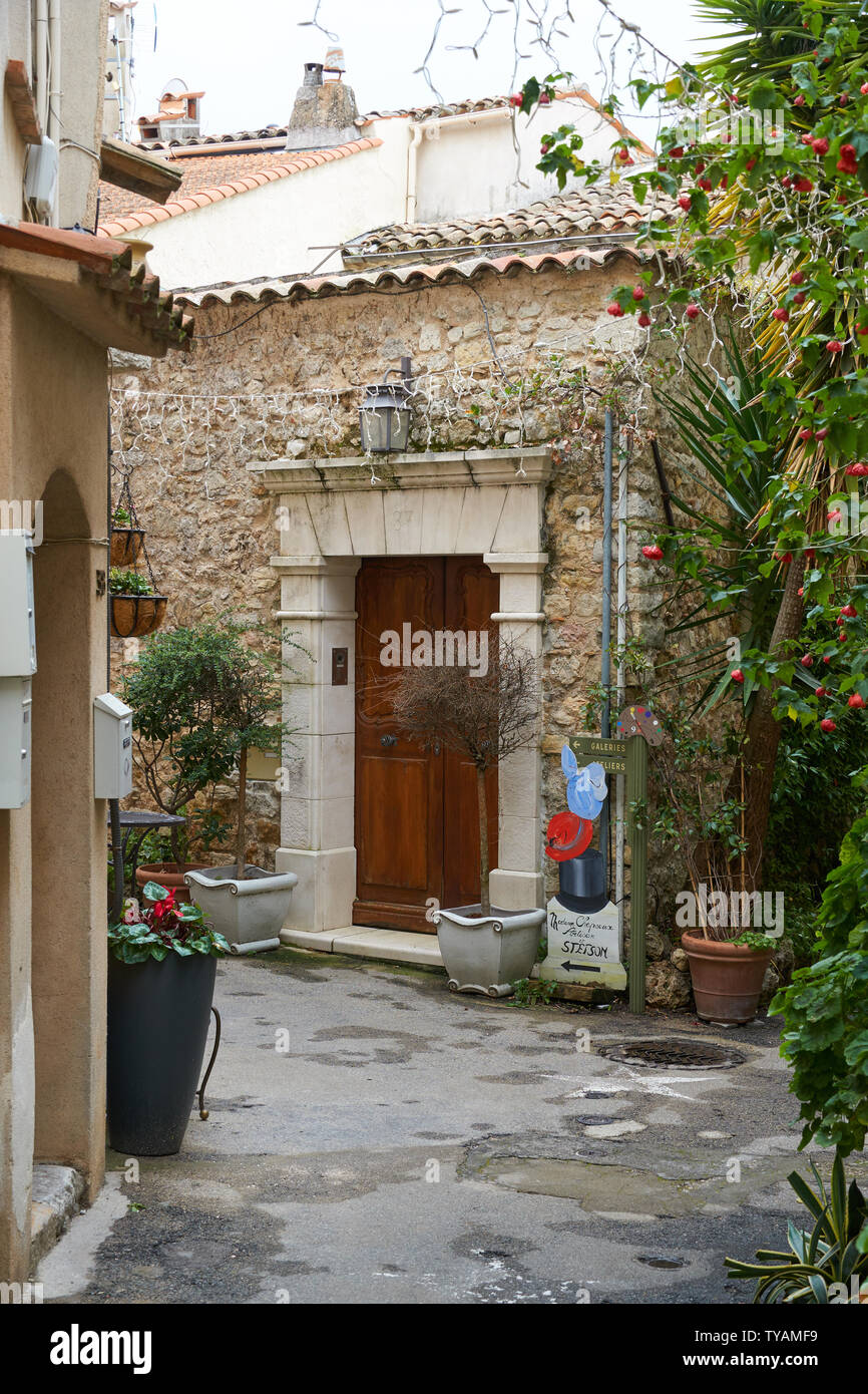 Mougins, France - April 03, 2019: Mougins is a commune in southeastern France that is a great place of tourist attractions with many art galleries, ca Stock Photo