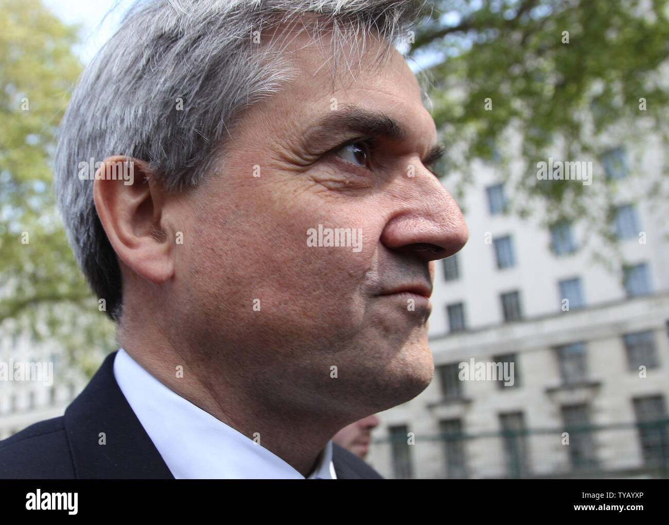 Liberal Democrat home secretary Chris Huhne leaves the Cabinet offices after trying to strike a deal with the Conservative party and form a coalition government in London on May 10 2010 London,England. Conservative leader David Cameron is meeting his party members tonight for a showdown.   UPI/Hugo Philpott - Stock Image