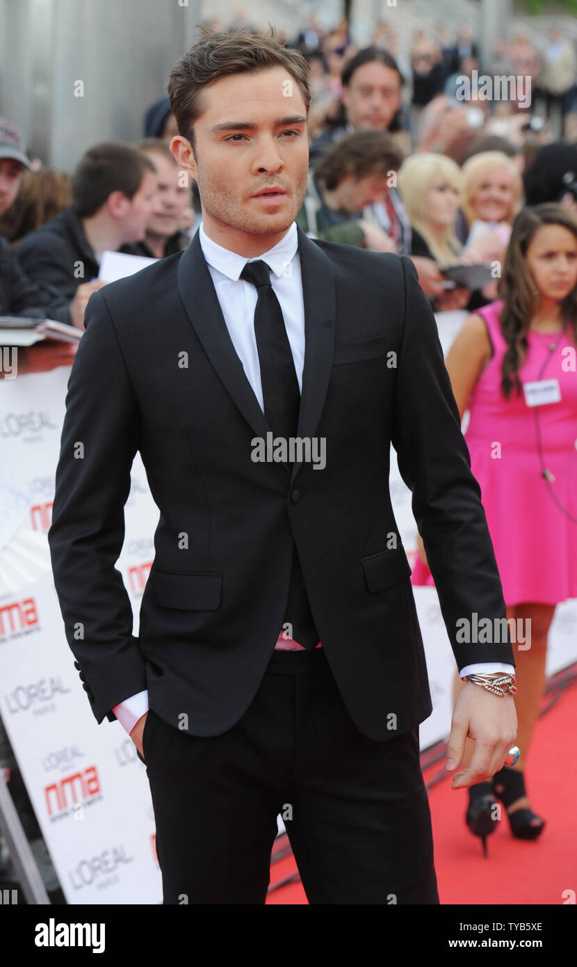 British actor Ed Westwick attends the 'National Movie Awards' at Wembley Arena in London on May 11, 2011.     UPI/Rune Hellestad - Stock Image