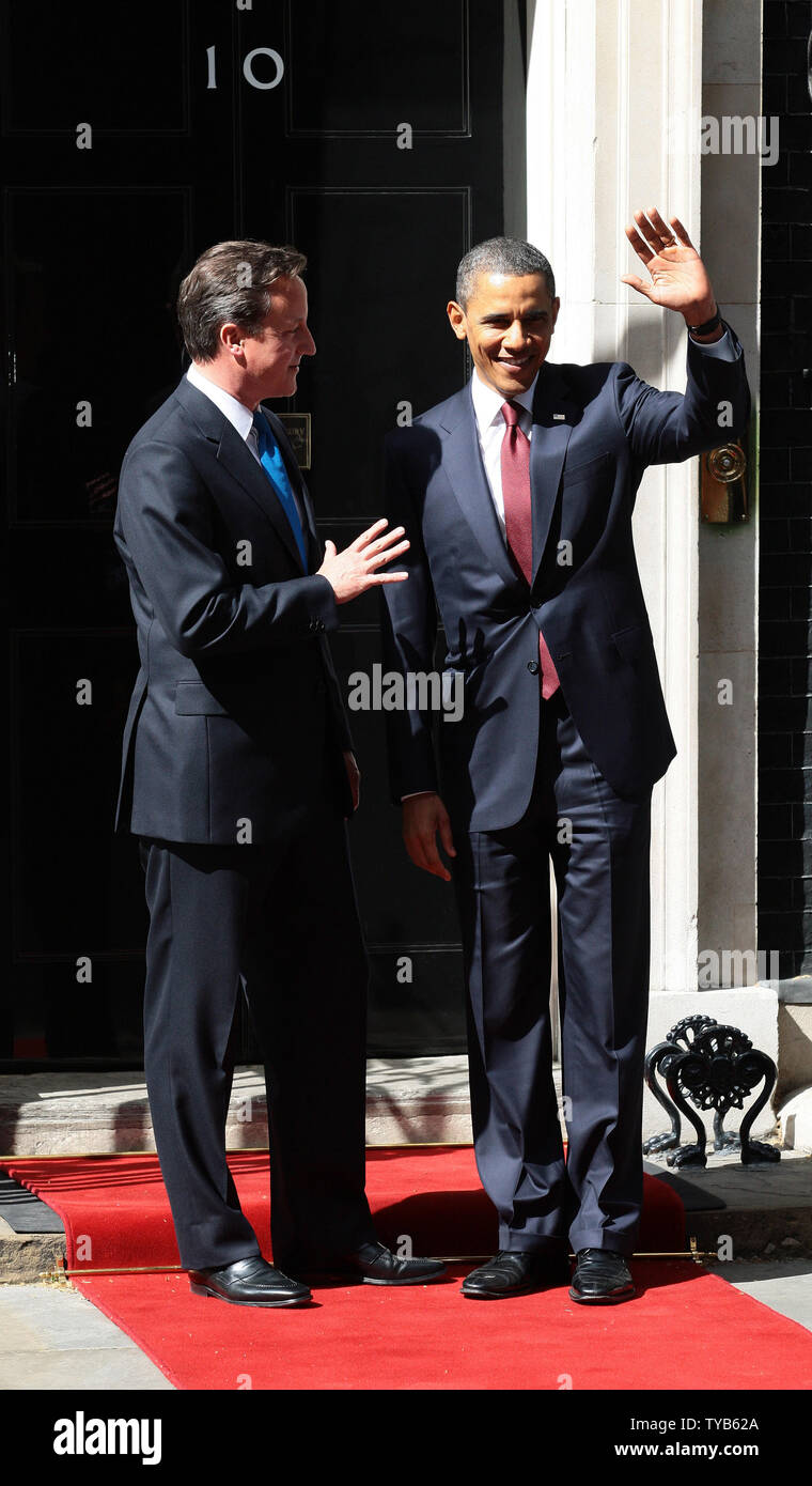 British Prime Minister David Cameron talks with US President Barack Obama at No.10 Downing St during a three day state visit to the United Kingdom in London on Tuesday May 24 2011.   UPI/Hugo Philpott. Stock Photo