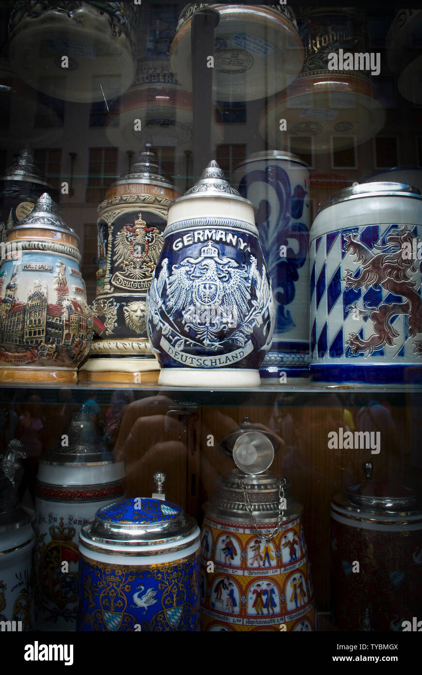 Stoneware Beer Steins on sale in sa shop in Munich, Bavaria, Germany. - Stock Image