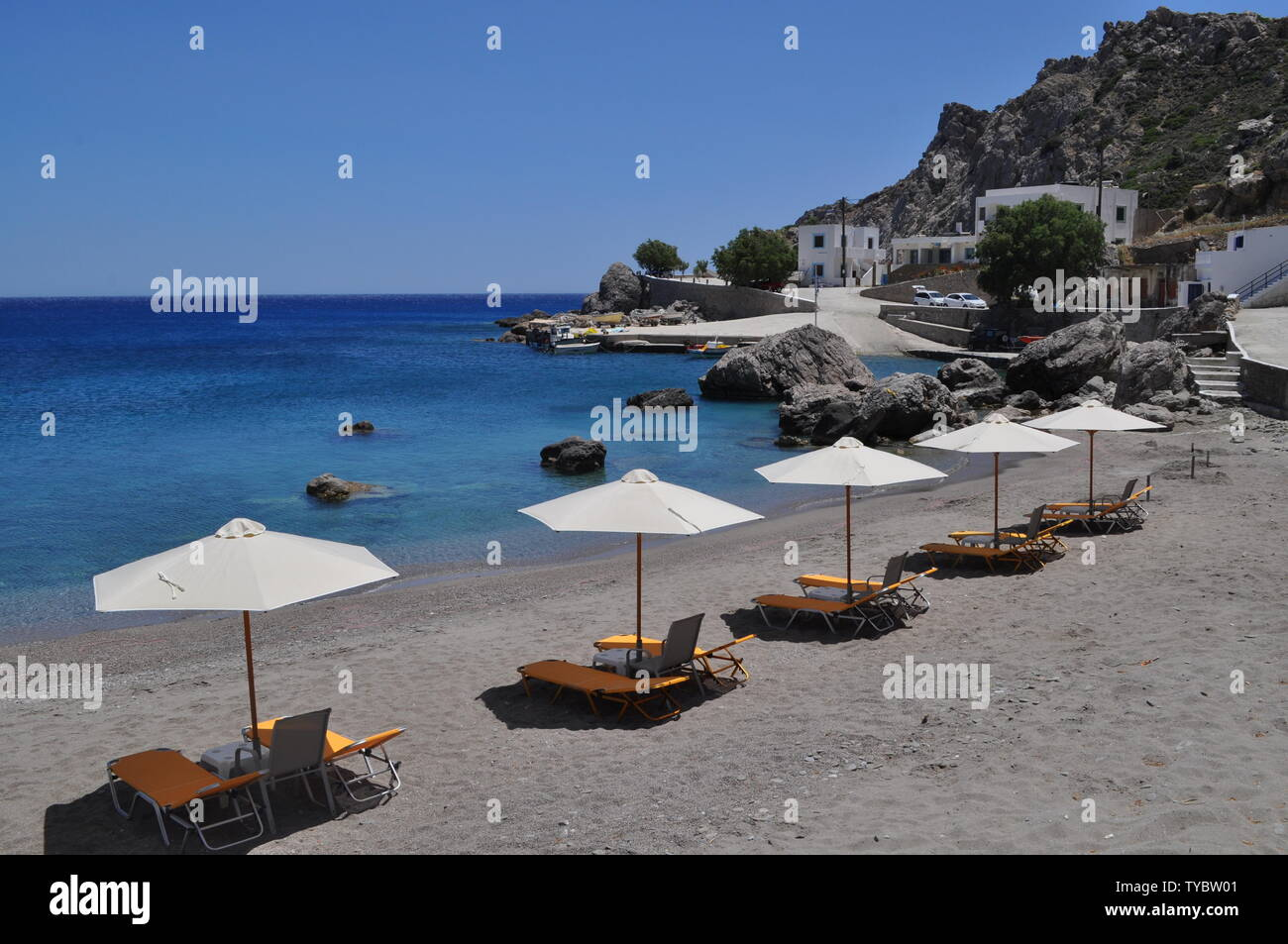 Picture perfect beaches of Karpathos, a small island of Greece in the aegean sea. Stock Photo