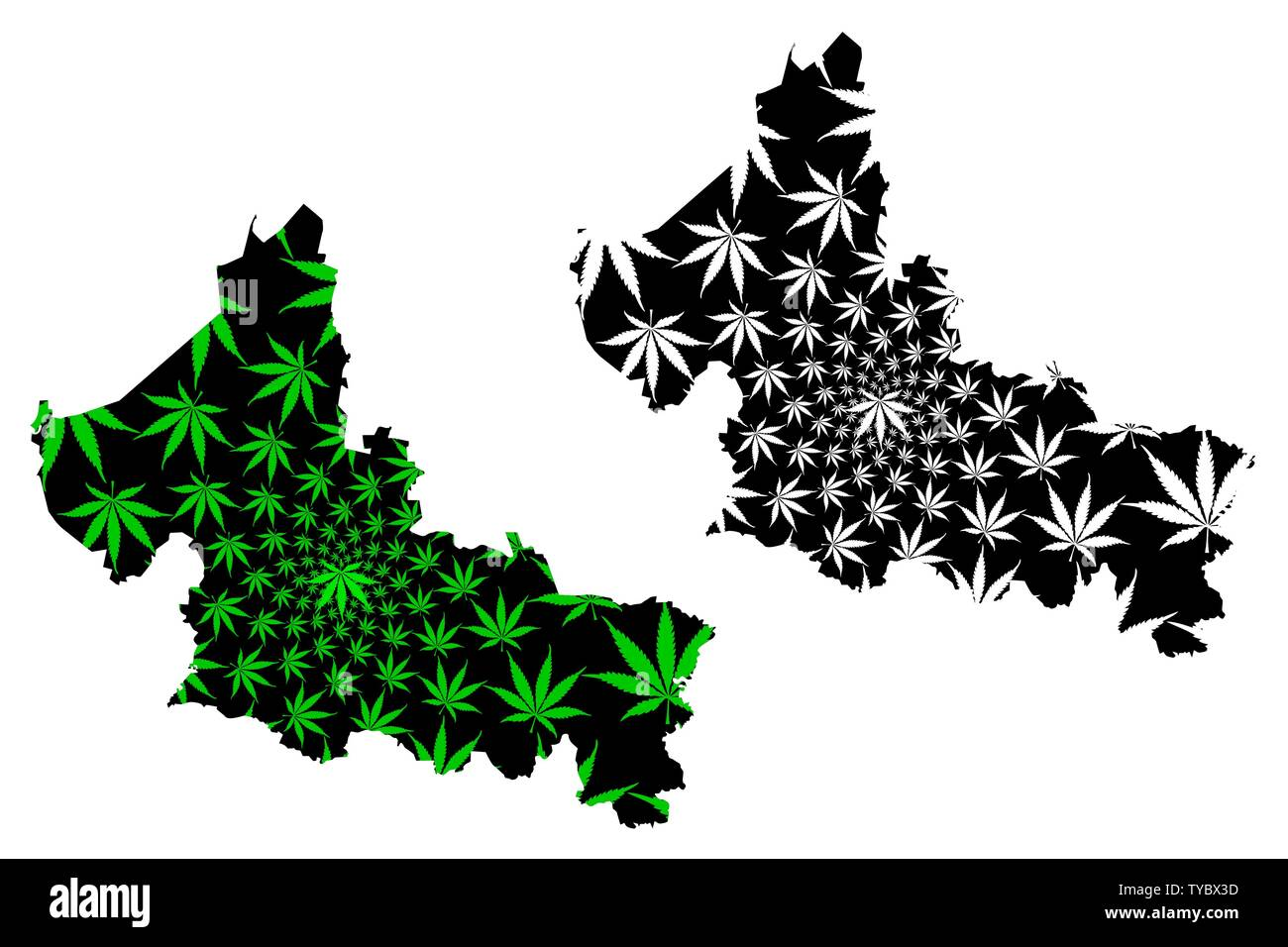 San Luis Potosi (United Mexican States, Mexico) map is designed cannabis leaf green and black, Free and Sovereign State of San Luis Potosí map made of - Stock Image