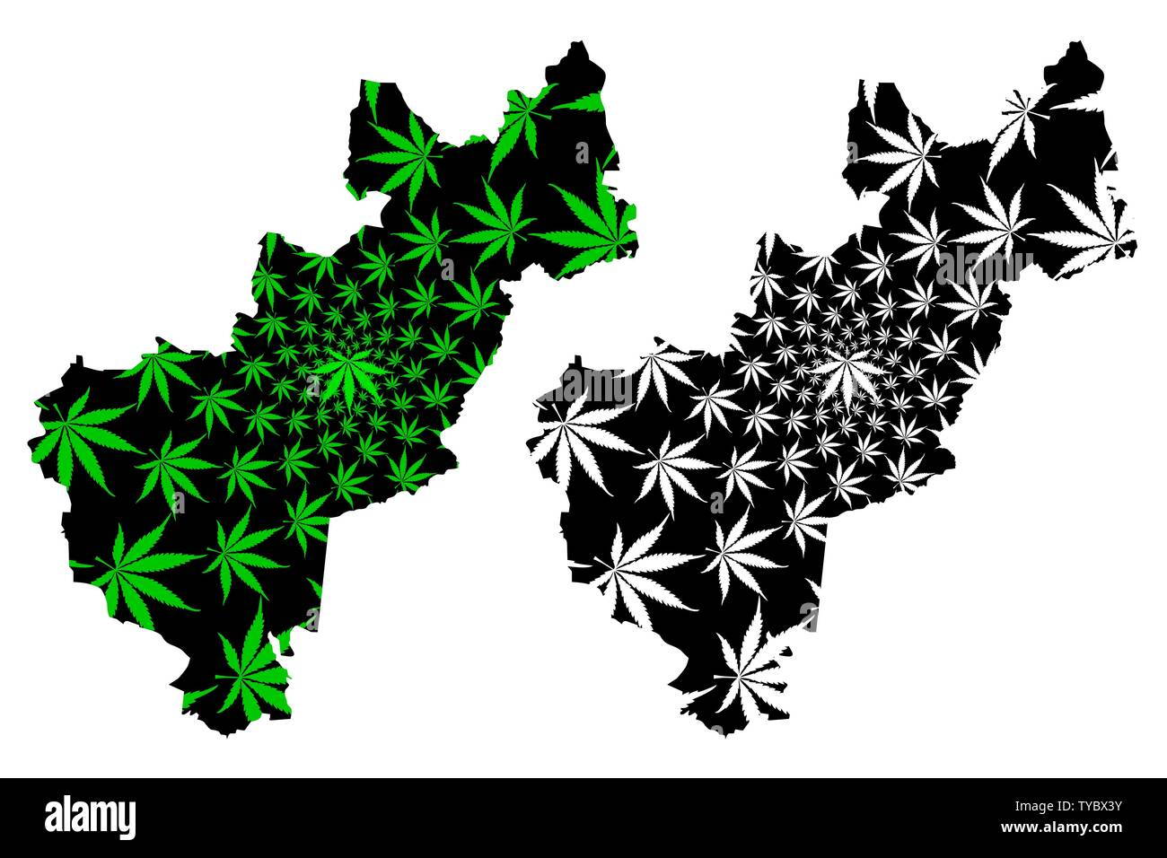 Queretaro (United Mexican States, Mexico) map is designed cannabis on