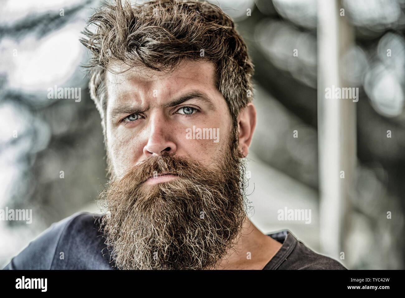 Man with beard and mustache thoughtful troubled. Thoughtful mood concept. Making important life choices. Making hard decision. Bearded man concentrated face. Hipster with beard thoughtful expression. - Stock Image