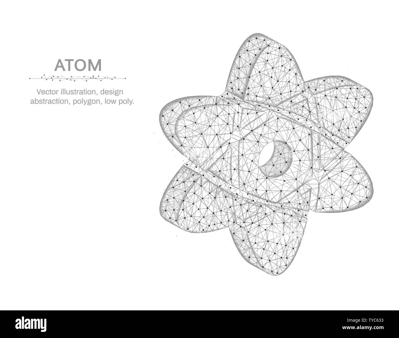 atom low poly design, science in polygonal style, chemistry and physics wire  frame vector illustration on white background stock vector image & art -  alamy  alamy