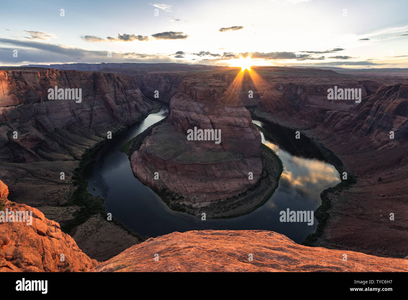 Horseshoe Bend is a horseshoe-shaped incised meander of the Colorado River located near the town of Page, Arizona, United States. It is very popular p Stock Photo
