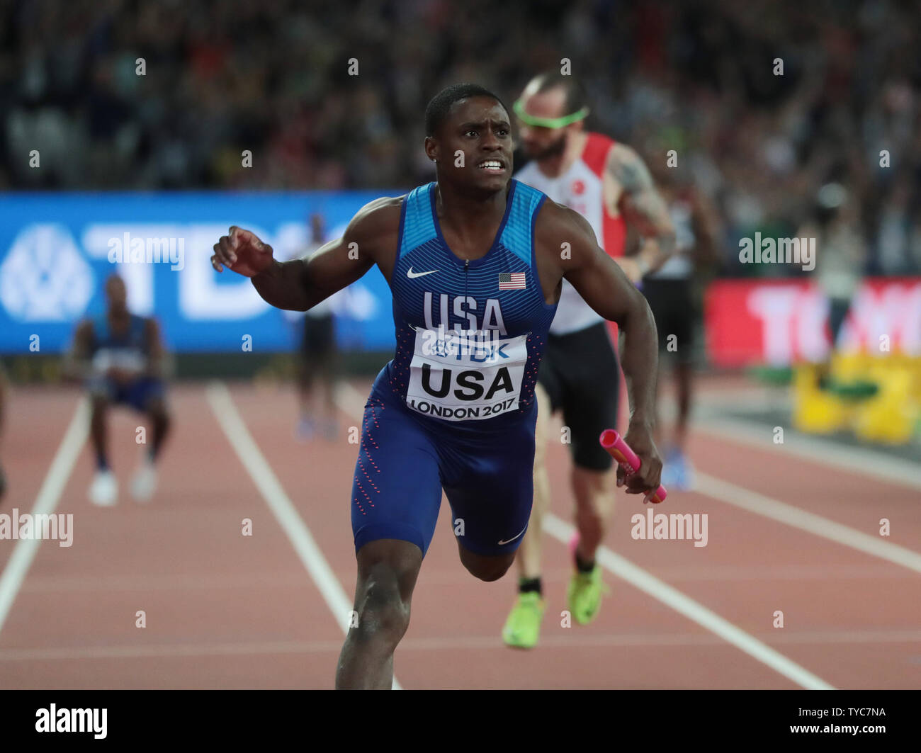 American Christian Coleman finishes in Silver position in the Men's 4 x 100 Metres Relay at the 2017 IAAF World Athletics Championships at the Olympic Stadium, London on August 12, 2017.    Photo by Hugo Philpott/UPI - Stock Image