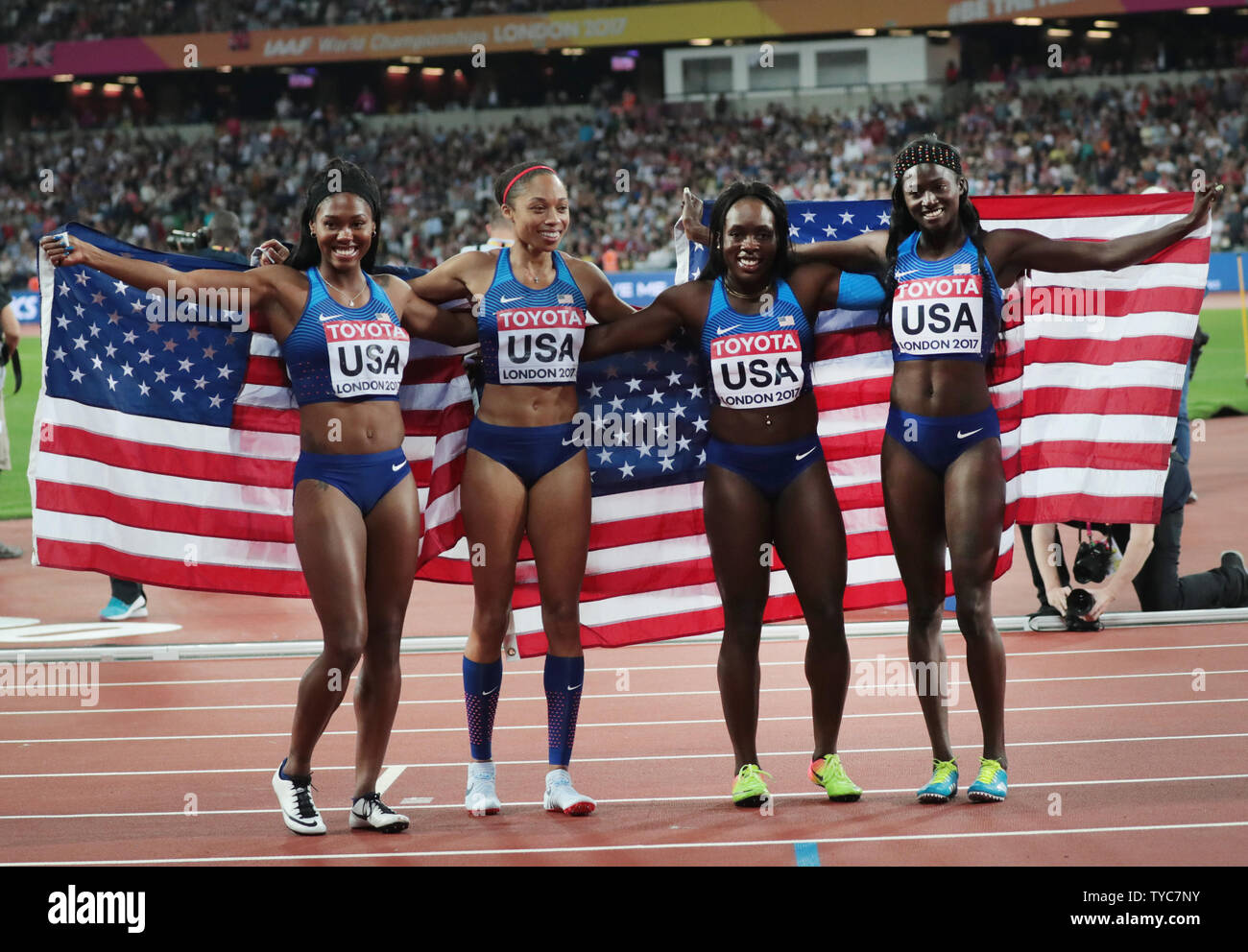 American Women's 4 x 100 Metres Relay team celebrate victory at the 2017 IAAF World Athletics Championships at the Olympic Stadium, London on August 12, 2017. Great Britain came in silver position.    Photo by Hugo Philpott/UPI - Stock Image