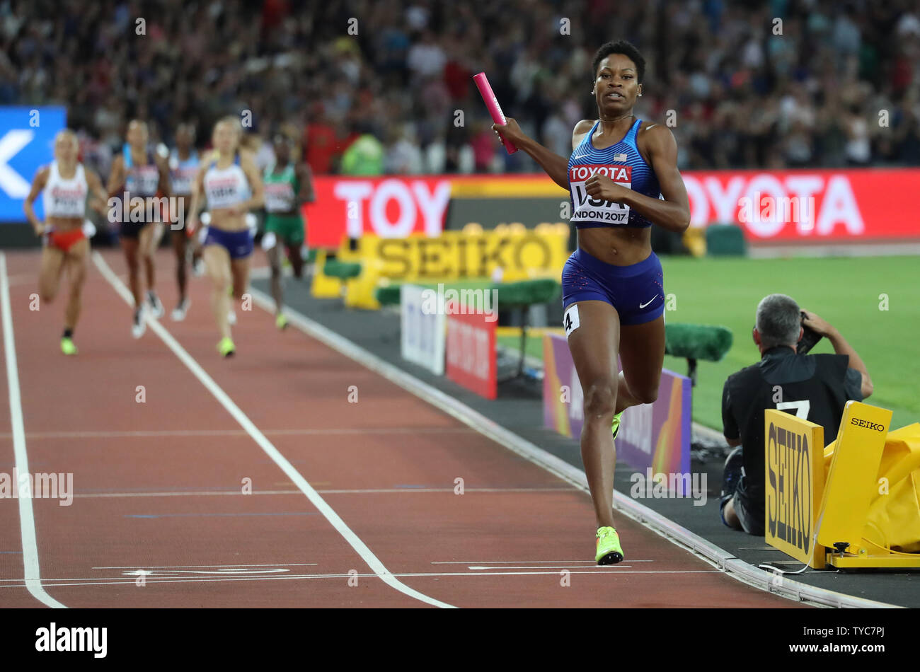 American Phyllis Francis wins the Women's 4 x 400 Metres Relay Final at the 2017 IAAF World Athletics Championships at the Olympic Stadium, London on August 13, 2017.    Photo by Hugo Philpott/UPI - Stock Image