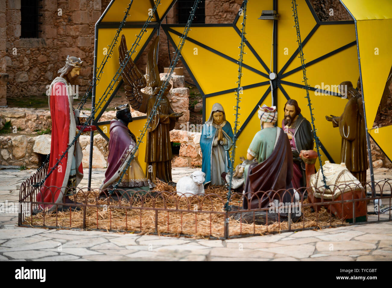 Weihnachtsdekoration, Agia Napa, Republik Zypern Stock Photo