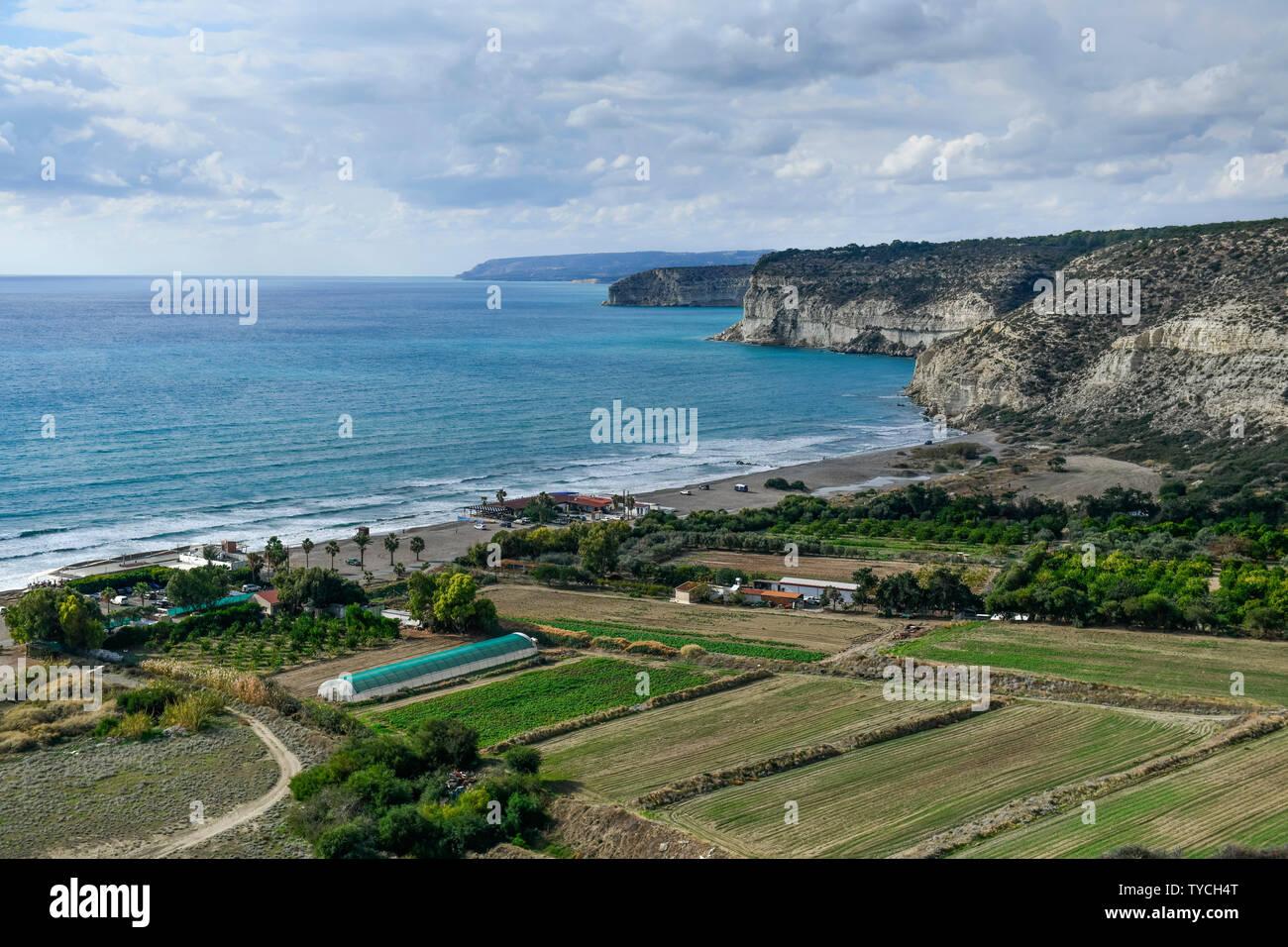 Strand, Felder, Kourion, Zypern - Stock Image