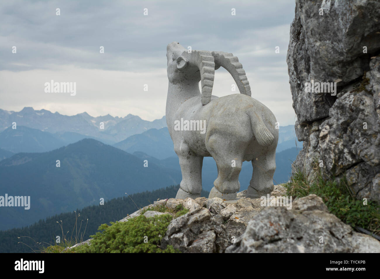Ibex statue, lenggries, bad toelz, brauneck, bavarian alps, upper bavaria, bavaria, germany - Stock Image