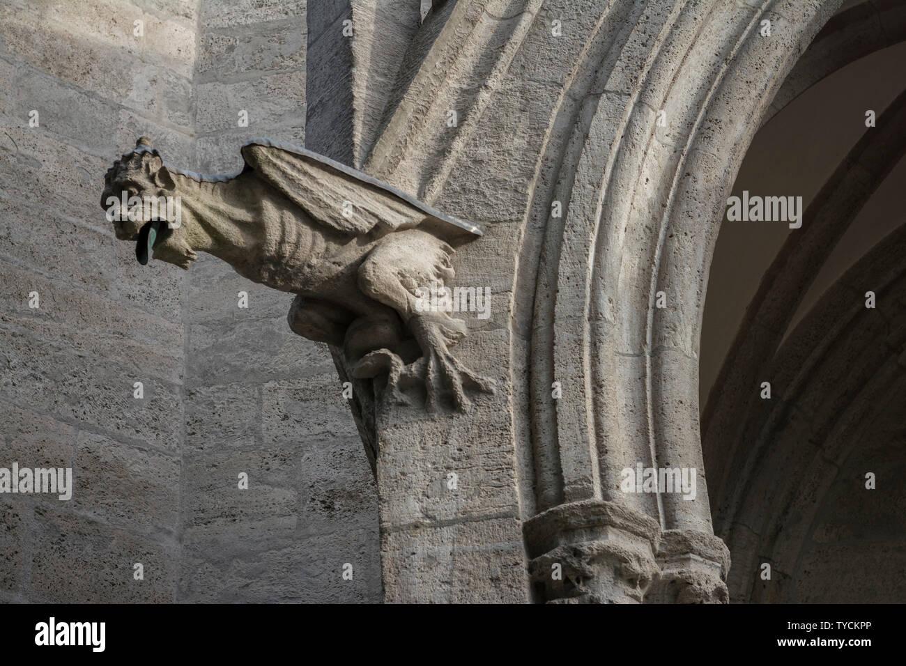 Grotesque figure, church st. paul, Ludwigsvorstadt, Munich, Bavaria, Upper Bavaria, Germany - Stock Image
