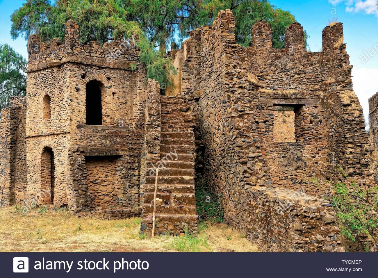 Palace of Fasilides, Gondar, Ethiopia - Stock Image