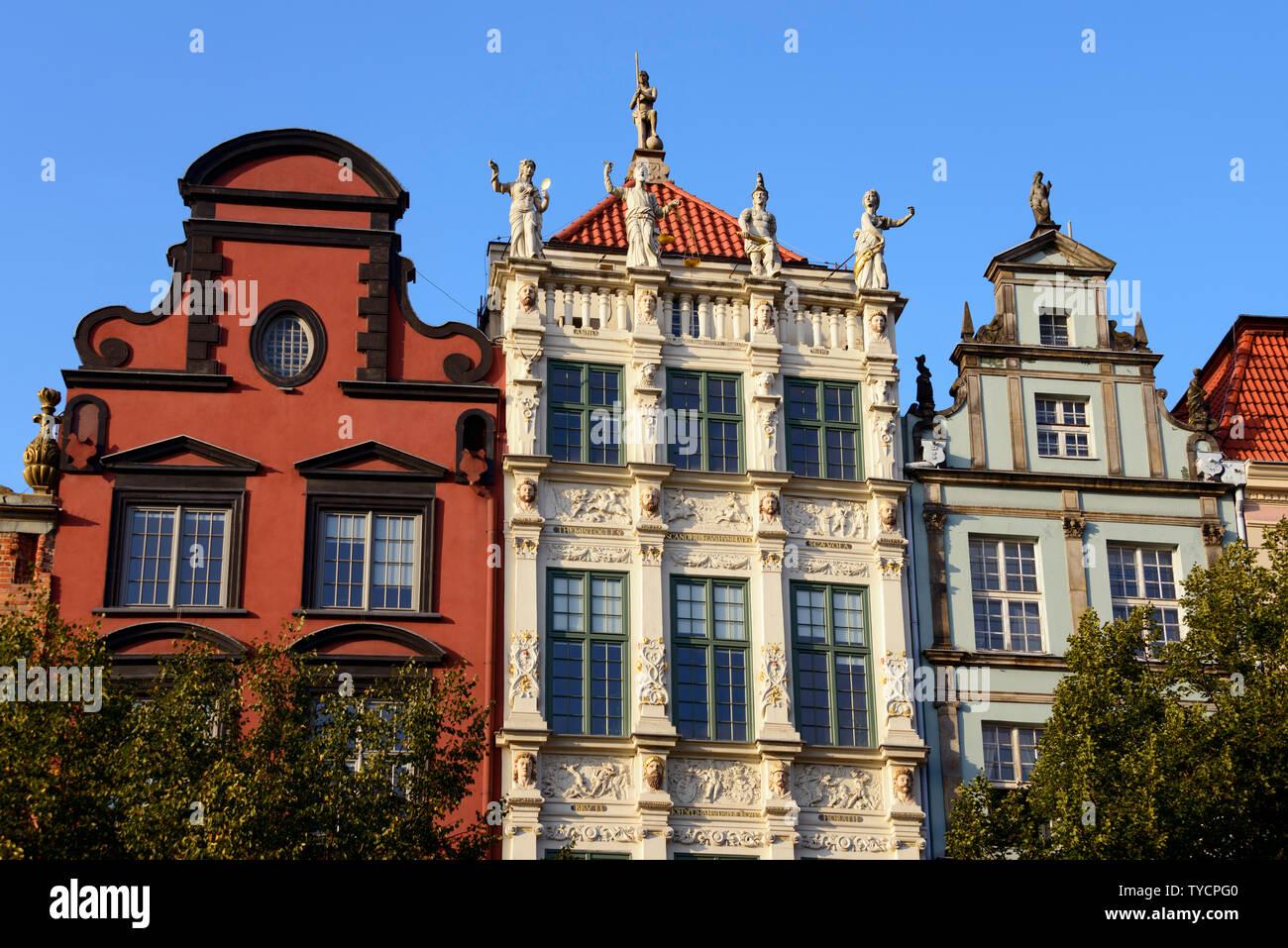 Houses on the Long Market, Dlugi Targ, Golden House, old town, Danzig, Pommerania, Poland Stock Photo