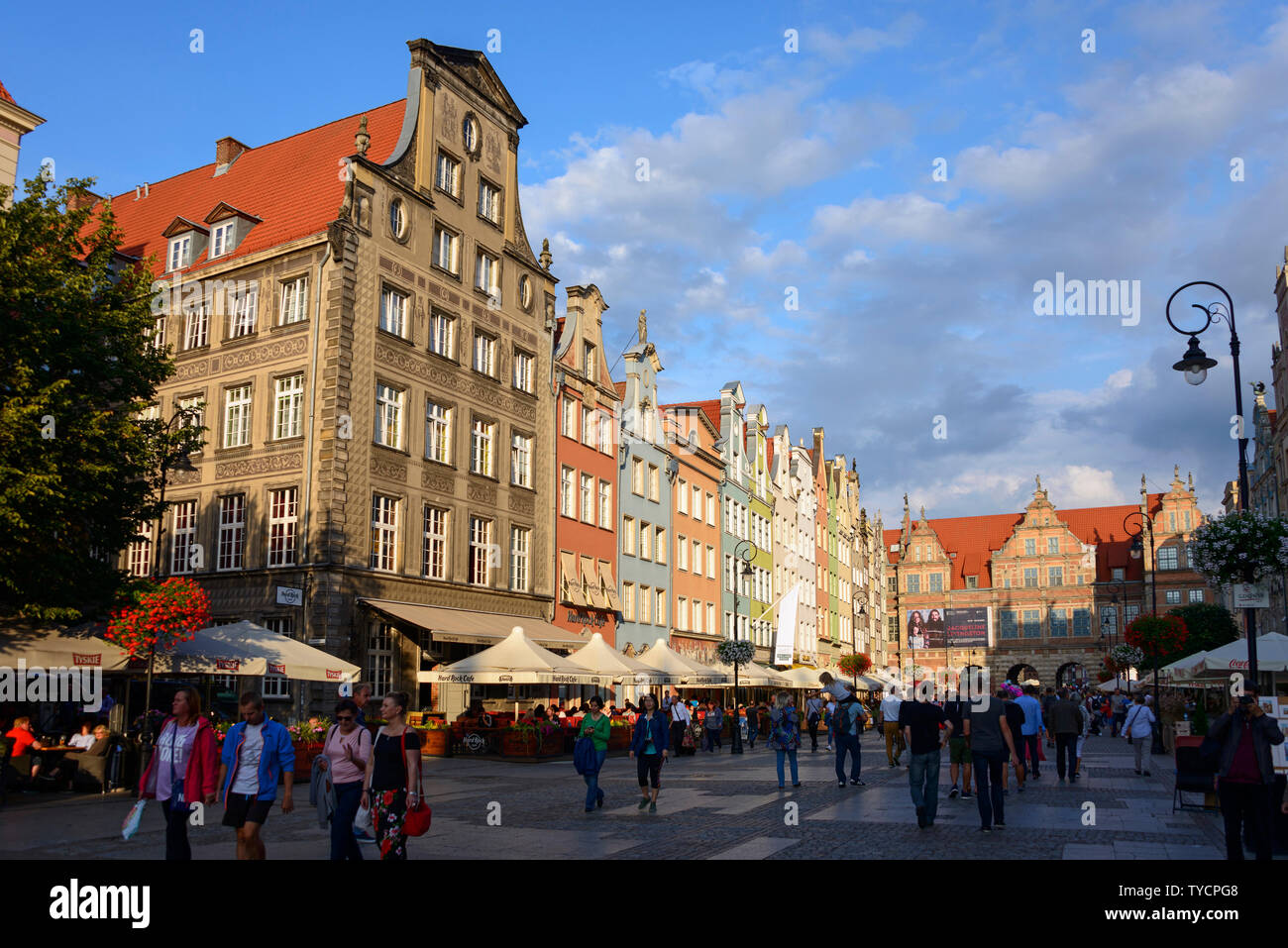 Long Market and Green Gate, Dlugi Targ, old town, Danzig, Pommerania, Poland Stock Photo
