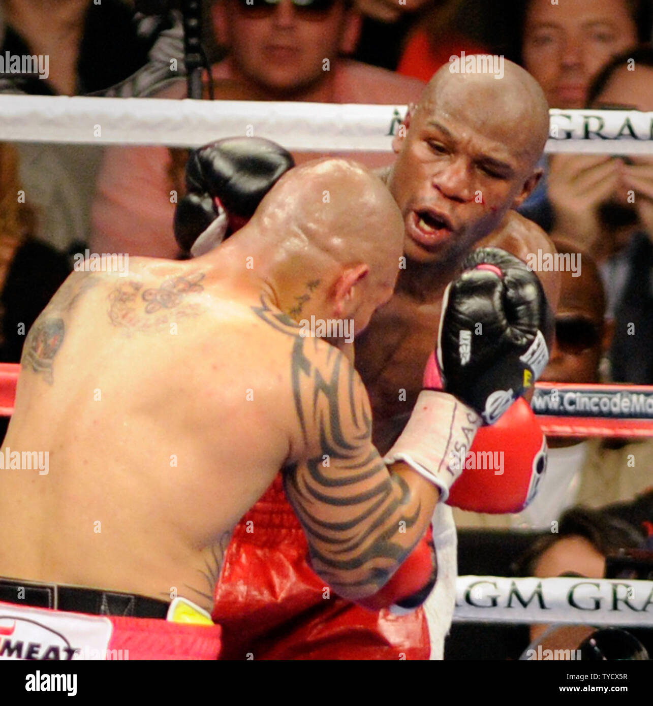Miguel Cotto, left, and Floyd Mayweather Jr. battle it out during their WBA super welterweight title fight at the MGM Grand Garden Arena in Las Vegas, Nevada on May 5, 2012.  Mayweather defeated Cotto in an unanimous decision after 12 rounds. UPI/David Becker Stock Photo