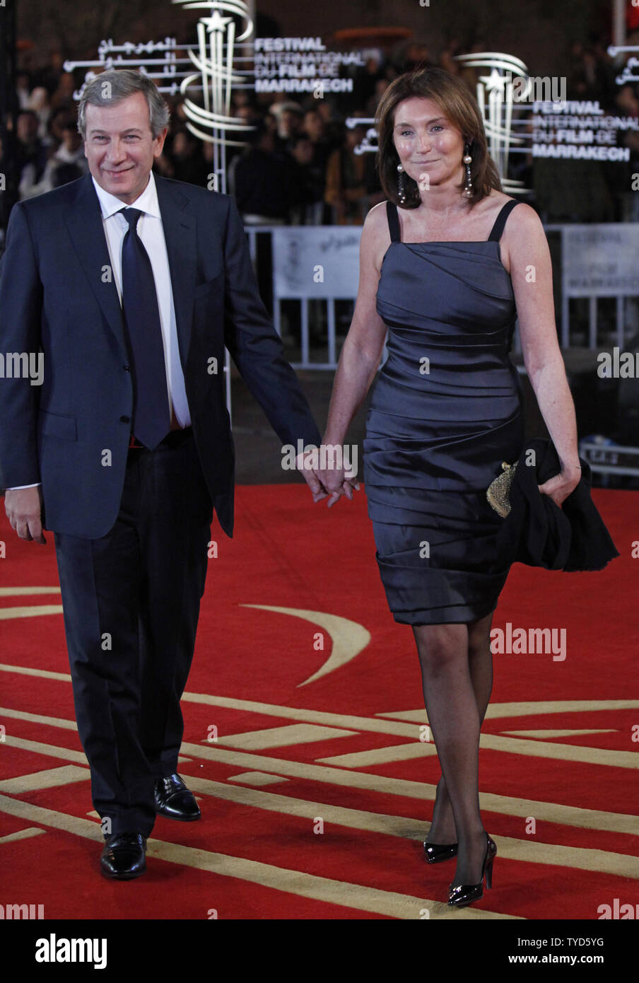 Cecilia Attias The Ex Wife Of French President Nicolas Sarkozy And Her Husband Richard Attias Arrive On The Red Before A Tribute Ceremony Recognizing The Career Of Christopher Walken At The Marrakech International