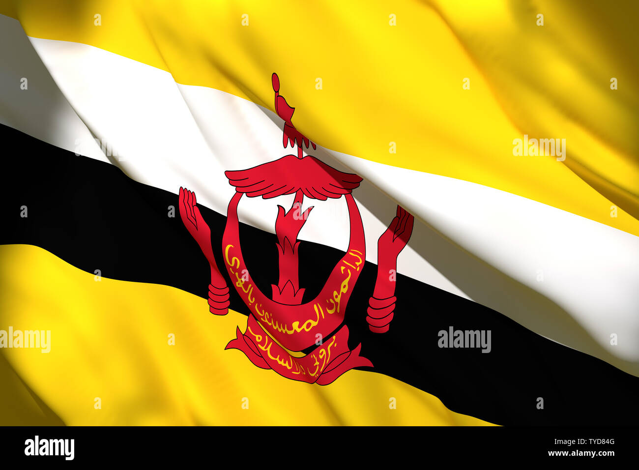 3d rendering of a Brunei national flag waving - Stock Image