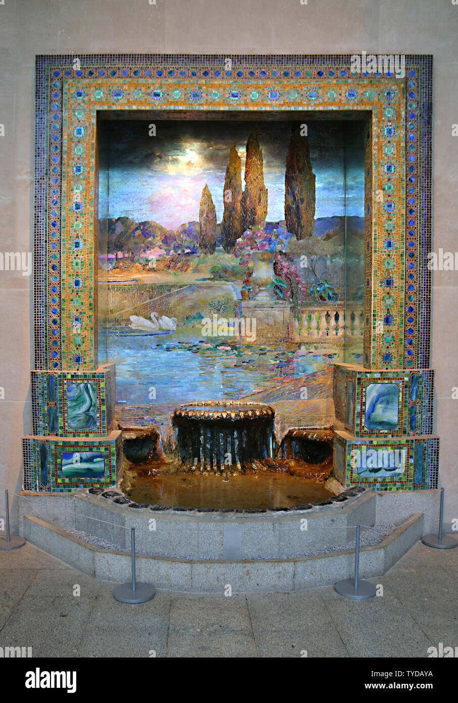 "Louis Comfort Tiffany's ""Garden Landscape"", Metropolitan Museum of Art, New York City, New York, USA - preliminiary studio for ""Dream Garden"" mosaic Stock Photo"