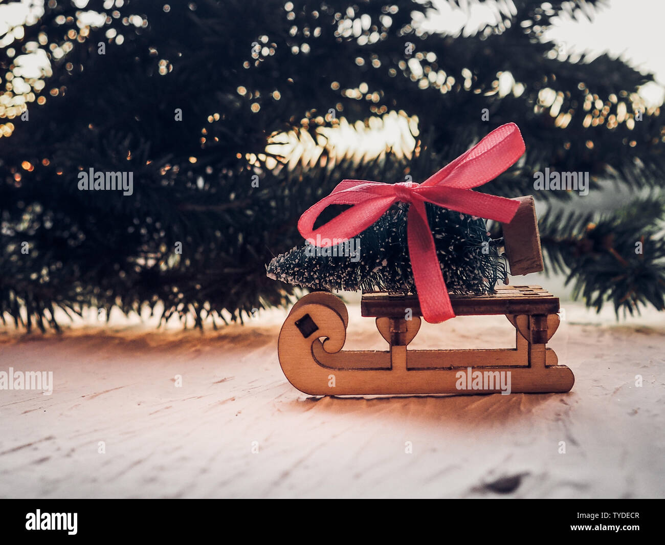 Gifts For Christmas On Wooden Sled Merry Christmas Tree Transporter