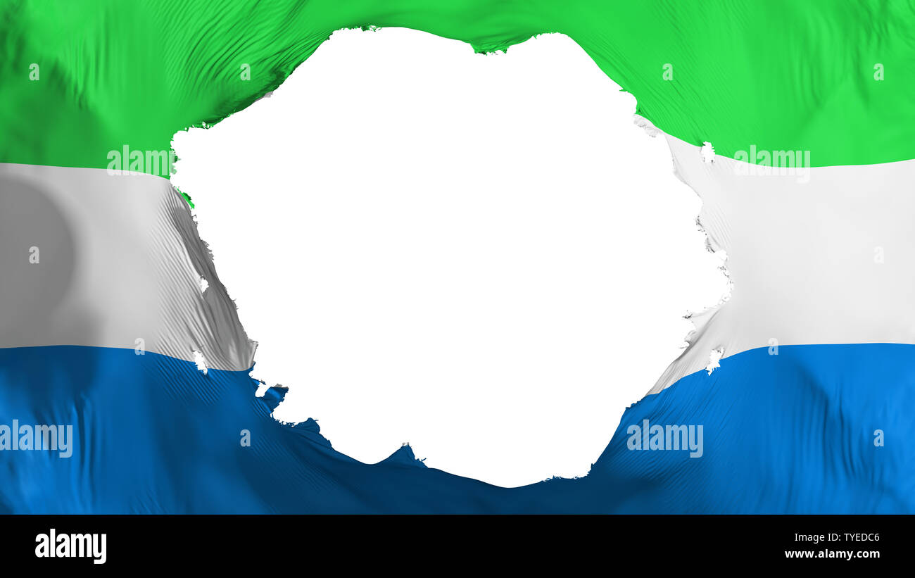 Broken Sierra Leone flag - Stock Image