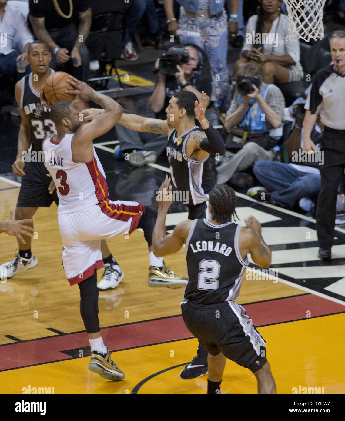 Miami Heat Dwyane Wade 3 Drives To The Basket On San Antonio Spurs Danny Green 4 In Game 4 Of The Nba Finals At The American Airlines Arena In Miami June 12