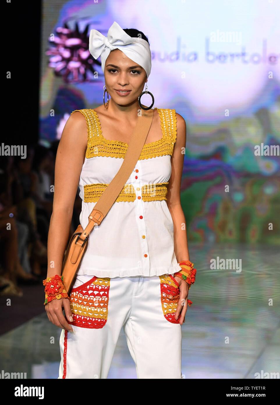 A Model Presents A Beachwear Creation By Claudia Bertolero Fashion Designers During The Miami Fashion Week