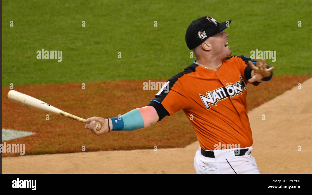 067b7e51 Miami Marlins Justin Bour, hits in the second round of the 2017 MLB home run