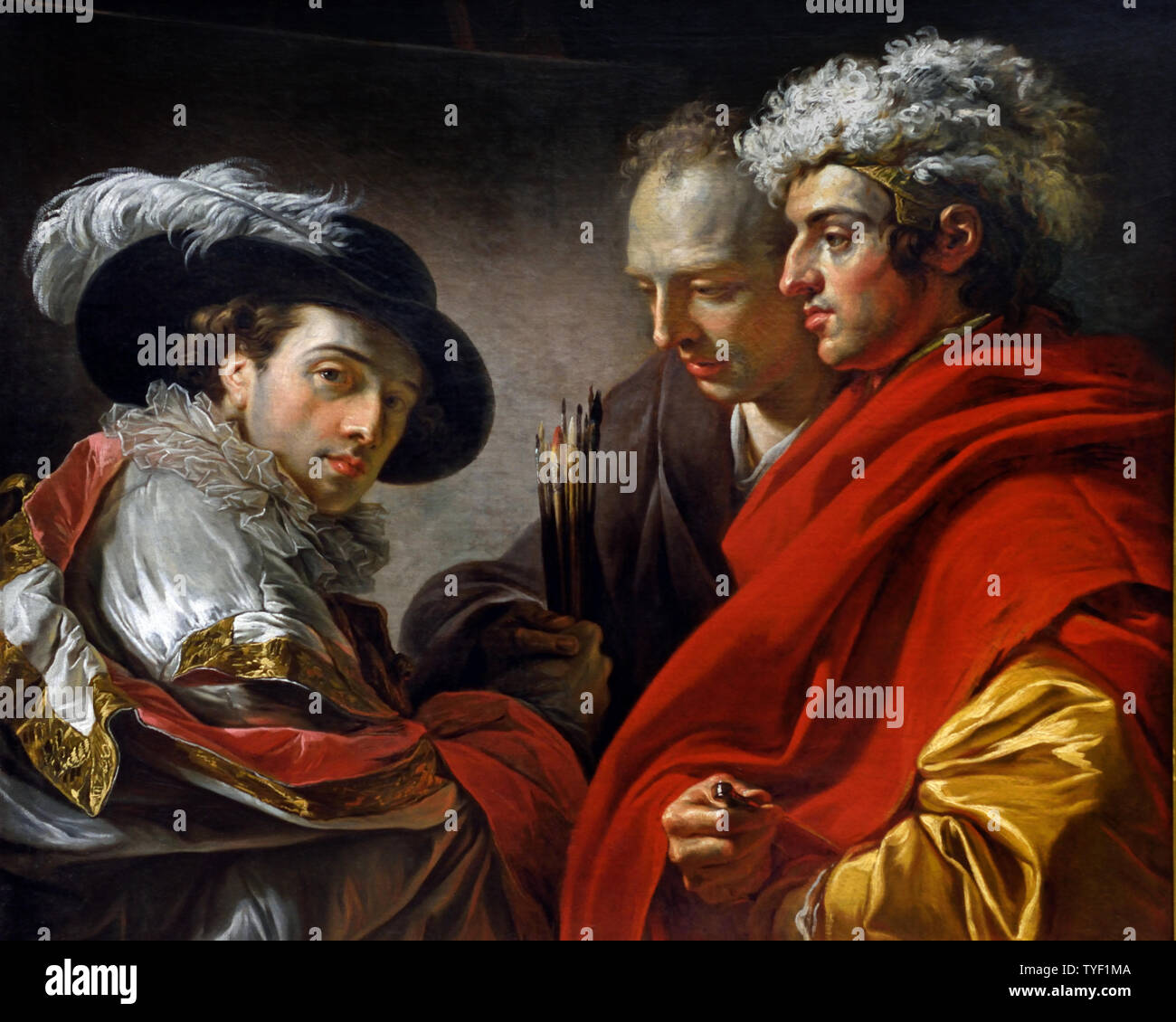 Portrait of three men 1775 by François-André VINCENT 1746 - 1816 (The artist depicted himself on the left in Spanish costume, in the spirit of Fragonard's Fantasy Figures. On the right is the architect Pierre Rousseau (1751-1826) and behind him, probably the painter Philippe-Henri Coclers (1738-1804). Stock Photo
