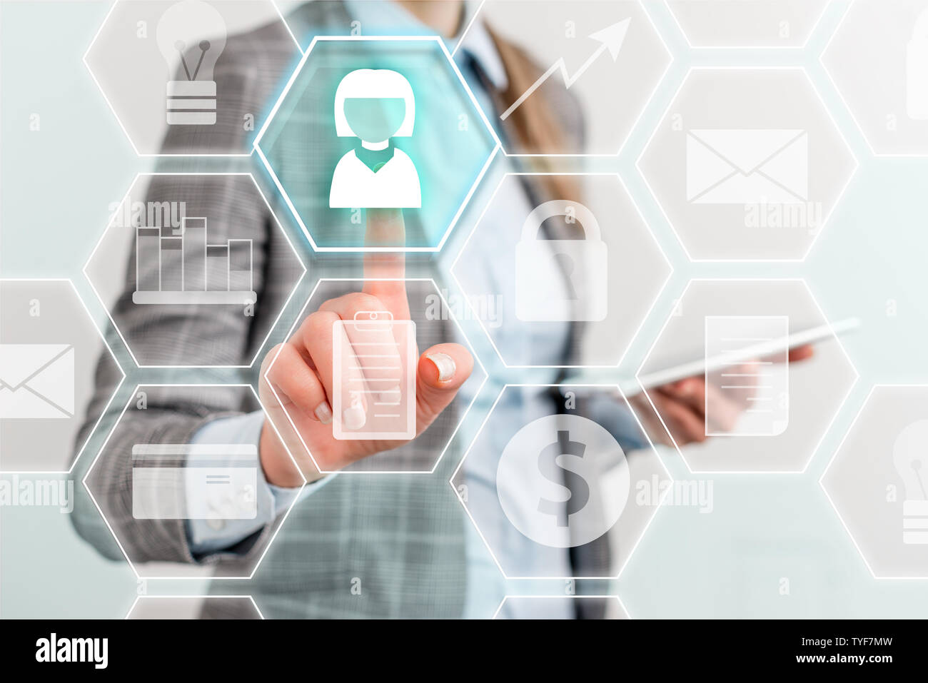 Lady front presenting hand blue glow futuristic modern technology tech look - Stock Image