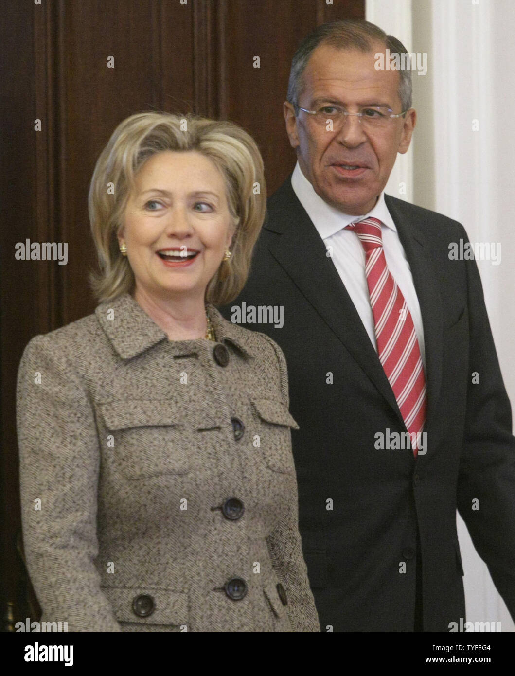 U.S. Secretary of State Hillary Clinton (L)  and her Russian counterpart Sergei Lavrov walk before their meeting in Moscow on March 18, 2010. UPI/Alex Natin - Stock Image