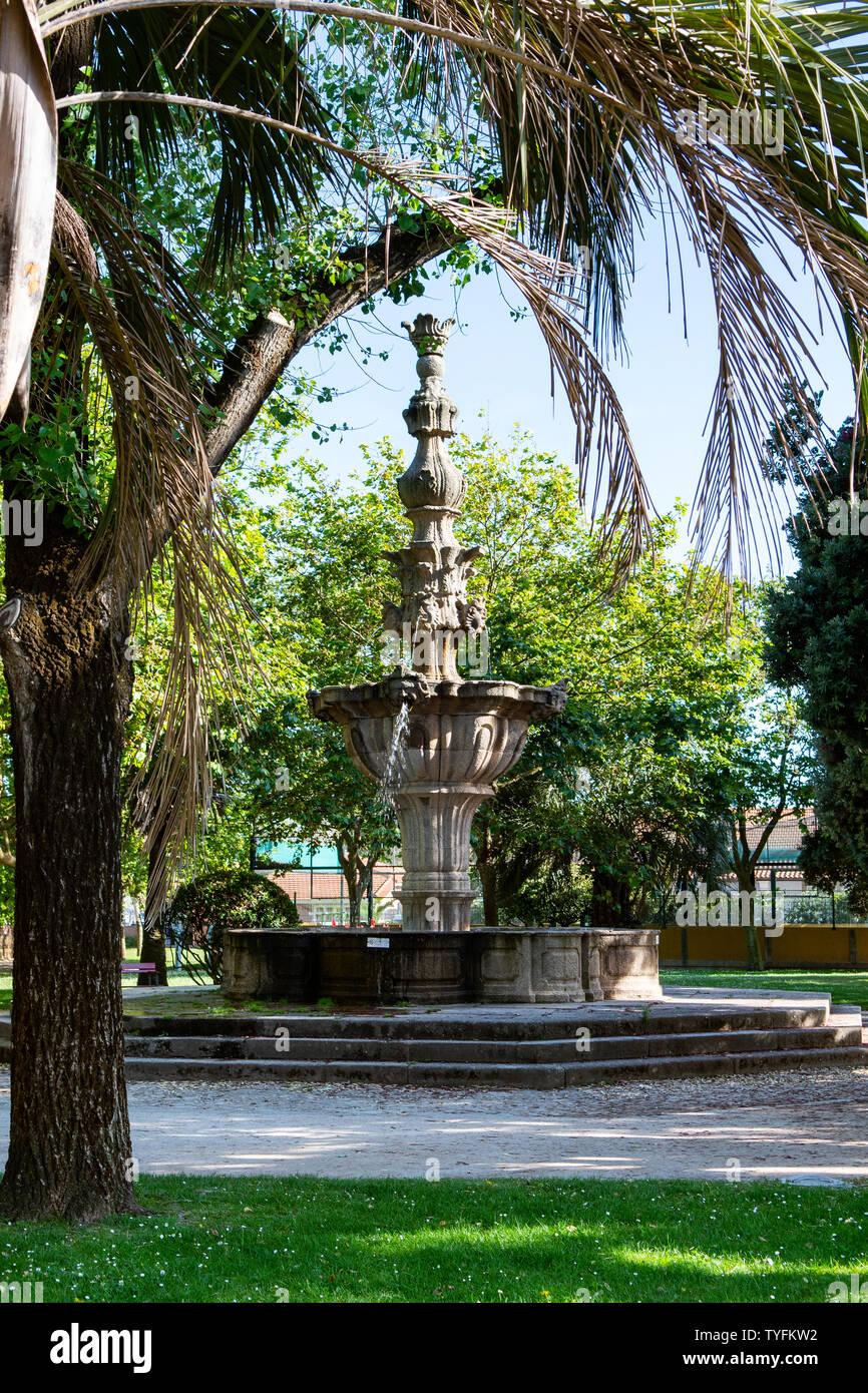 Fountain in the garden Jardim do Passeio Alegre near the beach in Foz do Douro district in Porto in Portugal. - Stock Image