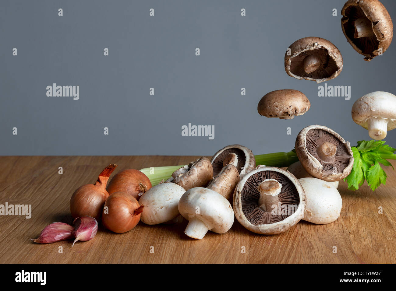 Ingredients for mushroom soup Stock Photo