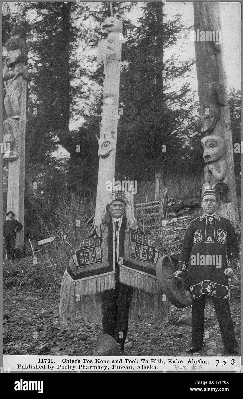 Post Card. Chiefs Tos Kine and Took to Elth, Kake, Alaska. - Stock Image