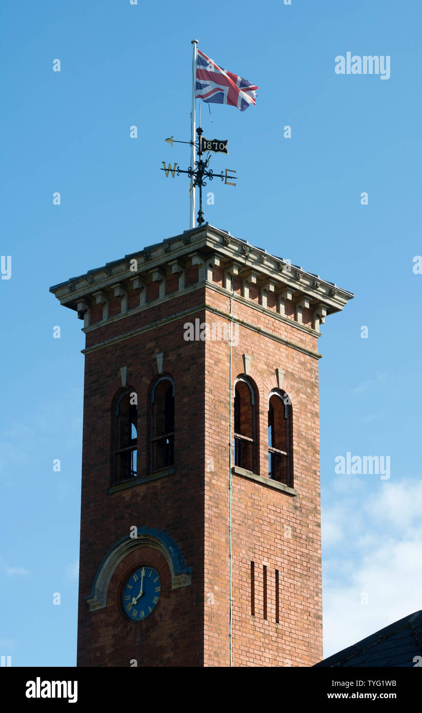 Gumley Hall stables clock tower, Gumley, Leicestershire, England, UK - Stock Image