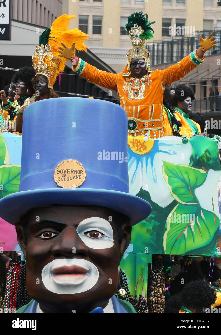 "The ""governor"" of the Zulu Social Aid and Pleasure Club greets his subjects on St. Charles Avenue in New Orleans on Mardi Gras, March 8, 2011. Zulu, a traditionally African-American Carnival organization, has been parading for over a hundred years.  (UPI/A.J. Sisco) Stock Photo"