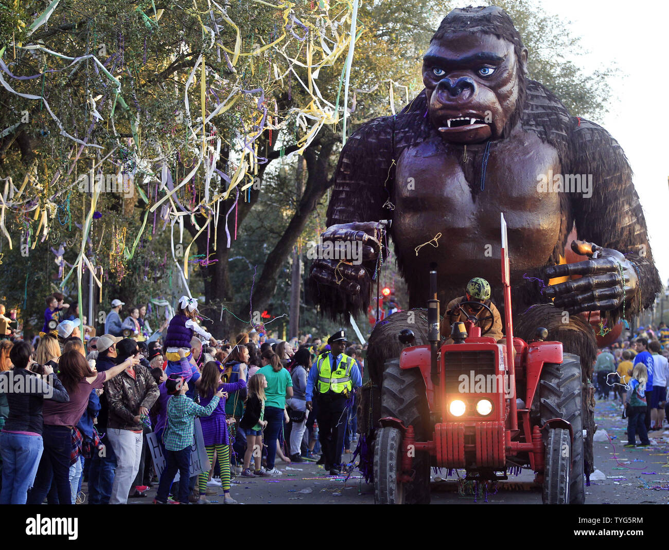 The Krewe of Bacchus Mardi Gras parade rolls down Napoleon Avenue in New Orleans Sunday February 26, 2017. The Krewe of Bacchus has been rolling on the traditional Uptown route since 1969.  Photo by AJ Sisco/UPI Stock Photo