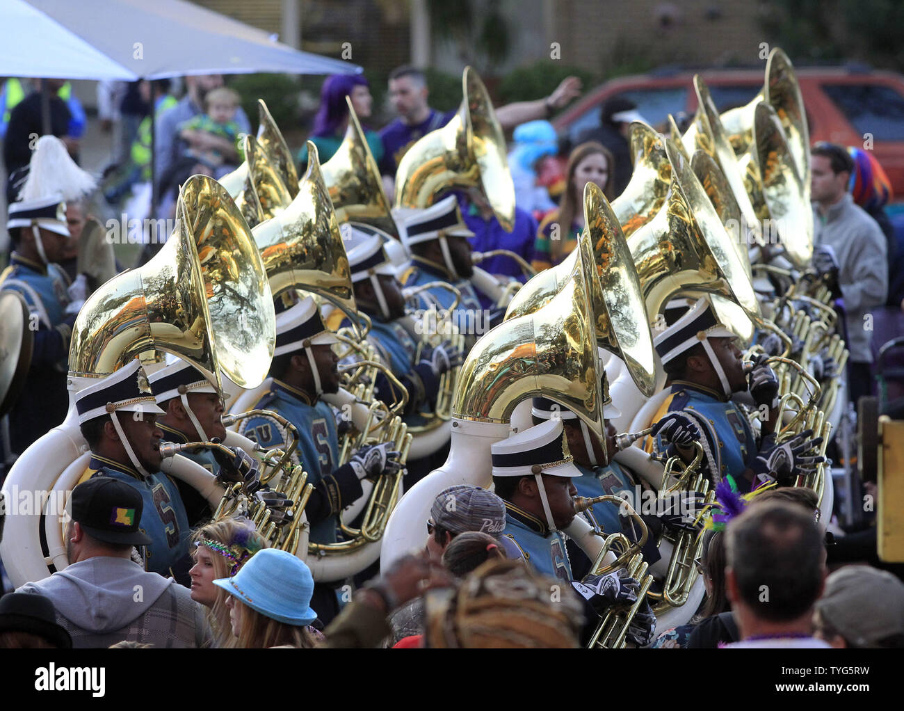 The Southern University Marching Band entertains Mardi Gras crowds during the Bacchus parade on Sunday, February 26, 2017. The Krewe of Bacchus has been rolling on the traditional Uptown route since 1969. Photo by AJ Sisco/UPI Stock Photo