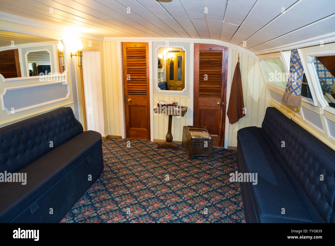 Ladies Boudoir room / rooms lounge with sofa seating for first class passengers on board the SS Great Britain. Promenade saloon deck on board the SS Great Britain. Brunel ship Brunel's ship is now a museum attraction in Bristol. UK (109) Stock Photo