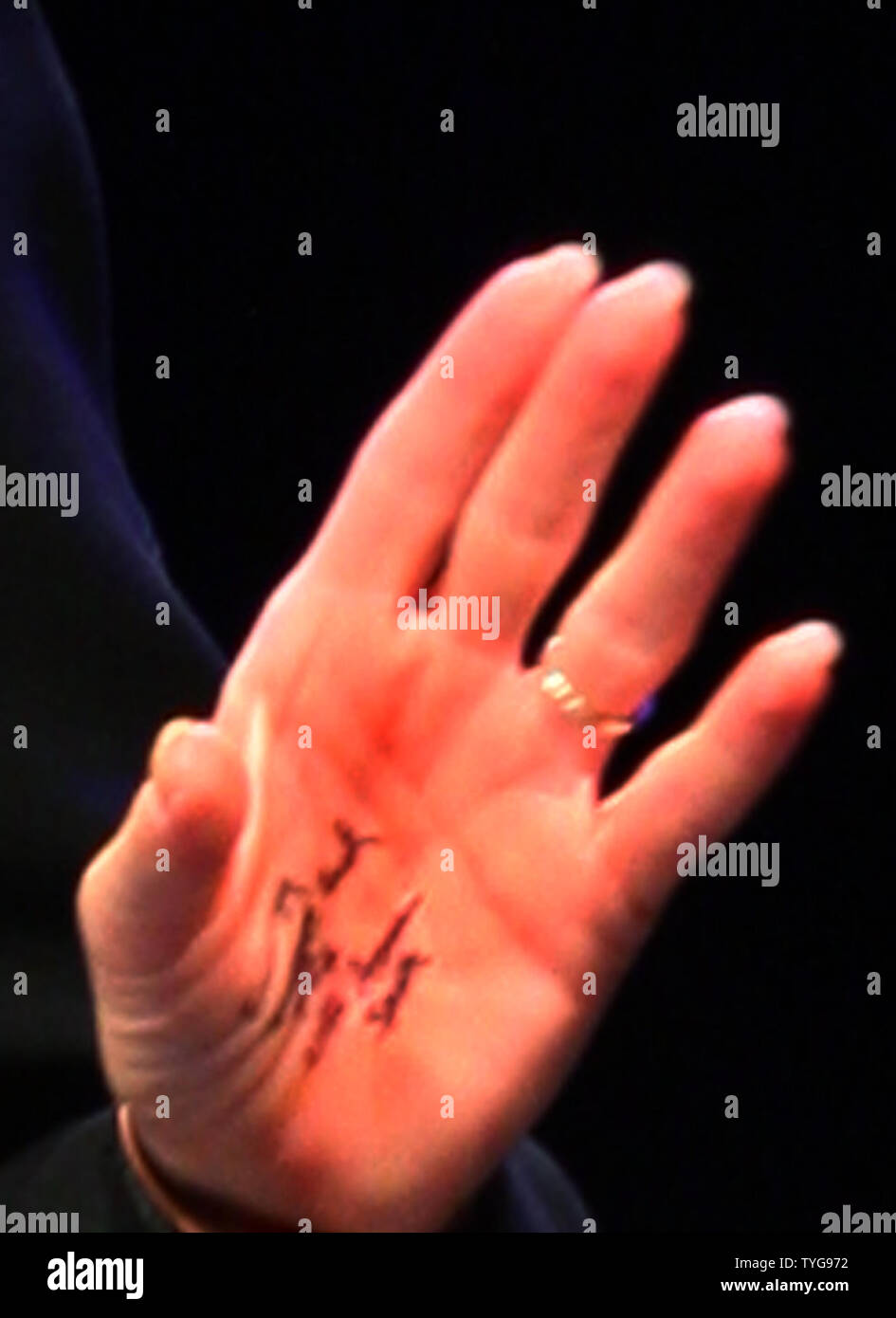 The left hand of Former Alaska Governor Sarah Palin is seen as she speaks at the National Tea Party Convention at the Opryland Hotel in Nashville, Tennessee on February 6, 2010. The words 'energy', 'budget cuts', 'tax' and 'lift American spirits' are seen written in ink on her hand. UPI/Terry Wyatt. - Stock Image