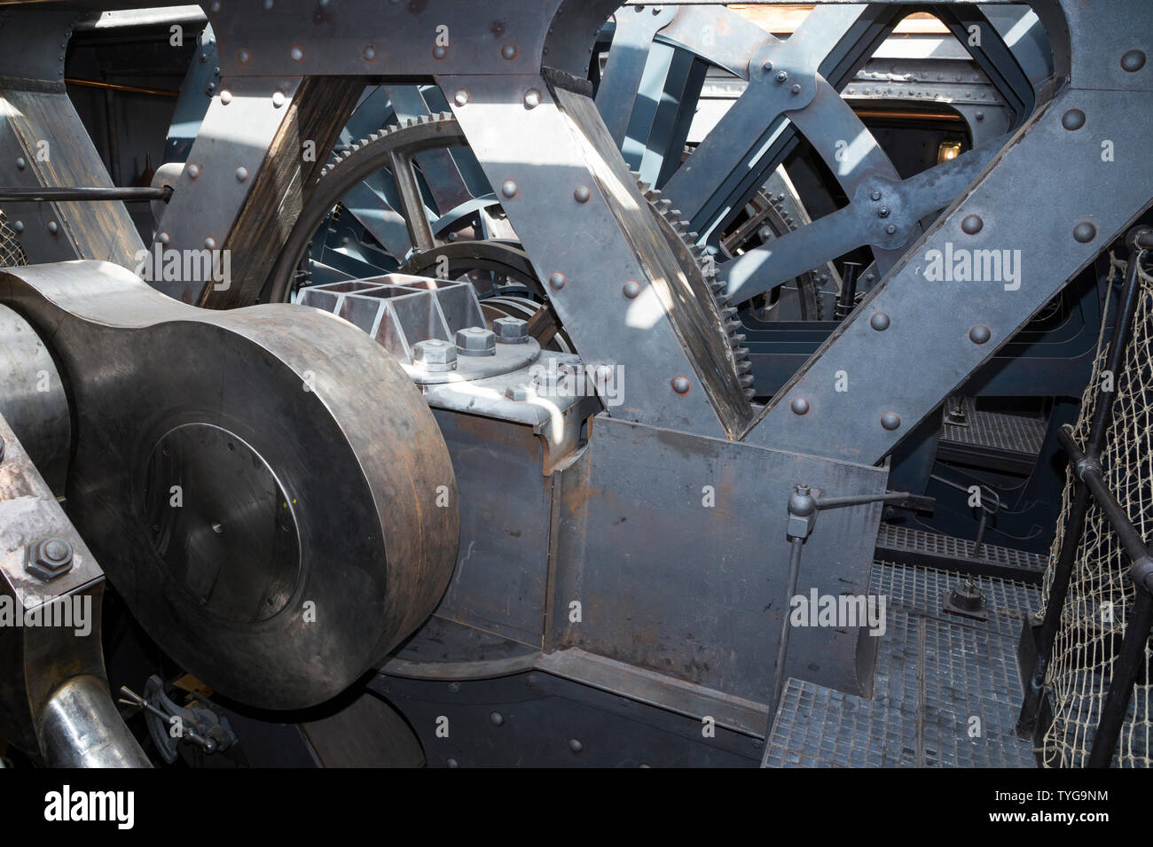 Re-created engine and the arrangement of gearwheels, gear chains and engine cylinders the SS Great Britain, Brunel's steam powered iron ship in dry dock in Bristol, UK. (109) Stock Photo