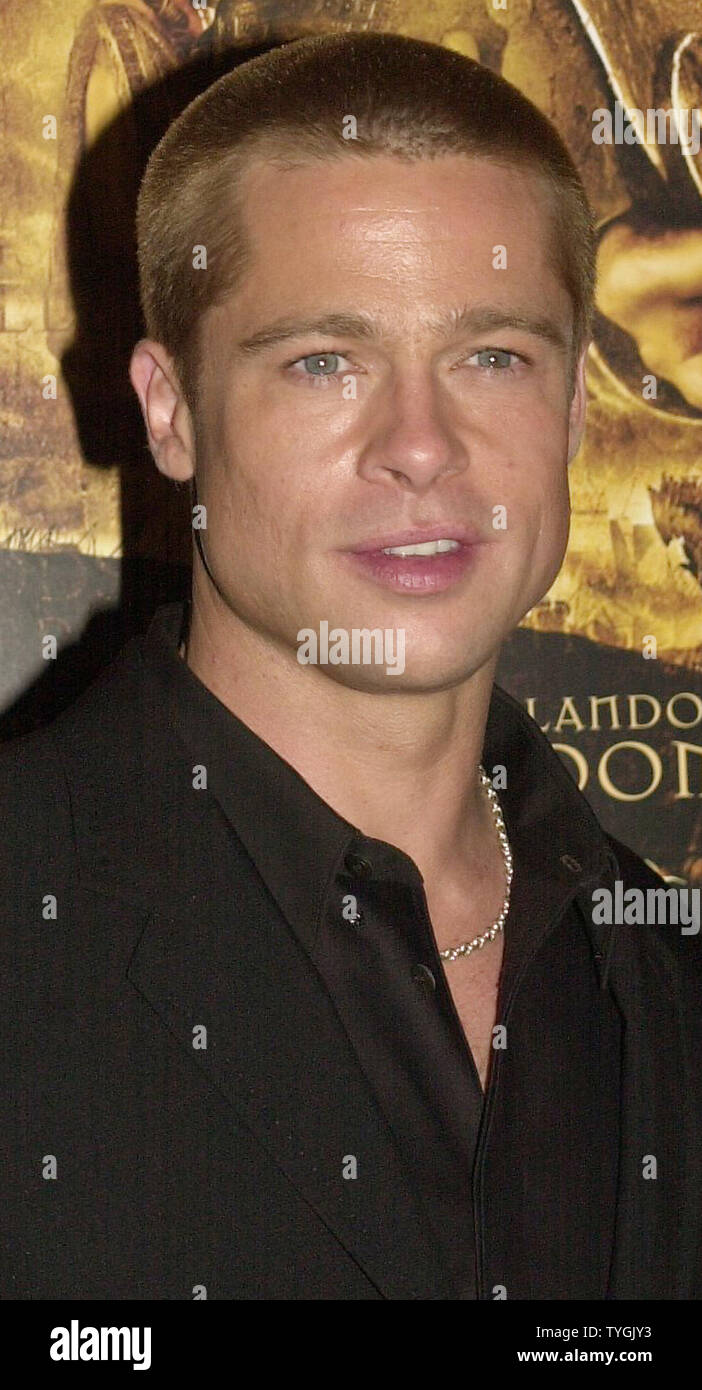 "Actor Brad Pitt poses for the media at the May 10, 2004 U.S. premiere in New York of his new film ""Troy""  (UPI/Ezio Petersen) Stock Photo"