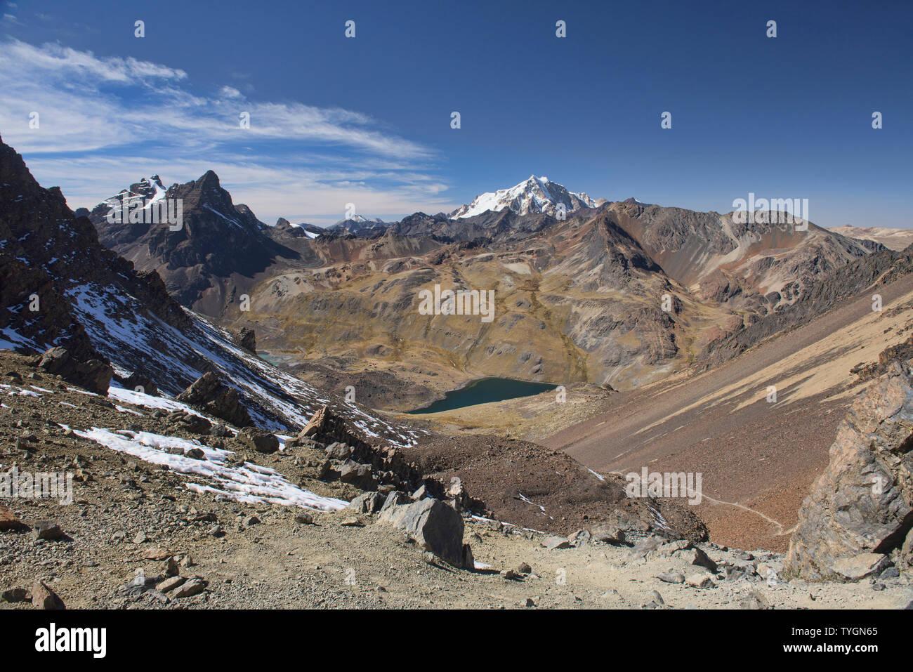 Descending from Pico Austria on the Cordillera Real Traverse, Bolivia - Stock Image