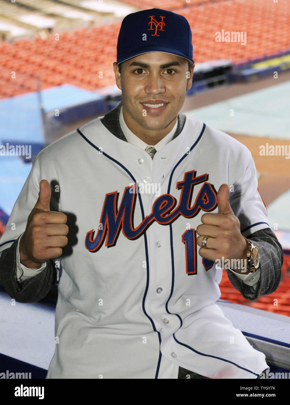 Carlos Beltran Poses For Photographers In Shea Stadium