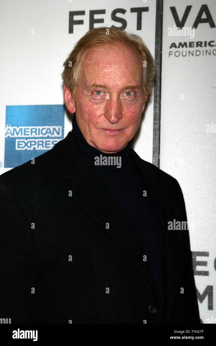 "Director Charles Dance arrives for the Tribeca Film Festival screening of ""Ladies in Lavender"" at Stuyvesant High School in New York on April 23, 2005.   (UPI Photo/Laura Cavanaugh) Stock Photo"