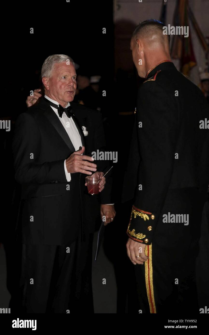 Col. Robert Cooper (right) greets retired Gen. James F. Amos (left) at Marine Aircraft Group 31's Marine Corps Birthday Ball aboard MCAS Beaufort, Nov. 9. Amos was the 35 Commandant of the Marine Corps and the guest of honor at MAG-31's ball. Cooper is the Commanding Officer of MAG-31. Stock Photo