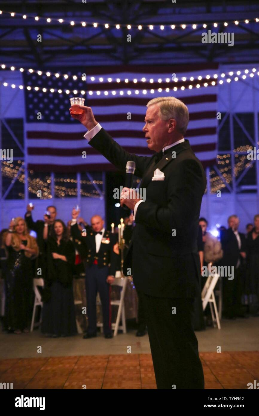 Retired Gen. James F. Amos gives a toast to the Marine Corps at Marine Aircraft Group 31's Marine Corps Birthday Ball aboard MCAS Beaufort Nov. 9. Amos was the 35 Commandant of the Marine Corps and the guest of honor at the ball. Amos was also the previous Commanding Officer of Marine All Weather Fighter Attack Squadron 533 and MAG-31. Stock Photo