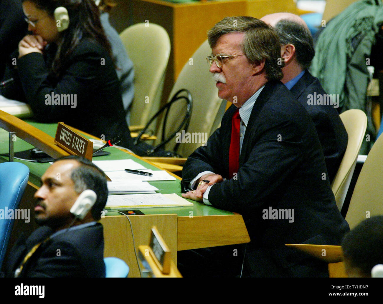 United State's ambassador to the United Nations John Bolton discusses his vote against the creation of a new United Nations Human Rights Council during the General Assembly meeting at the UN on March 15, 2006 in New York City. The resolution passed by 170 to 4 votes. (UPI photo/Monika Graff) Stock Photo